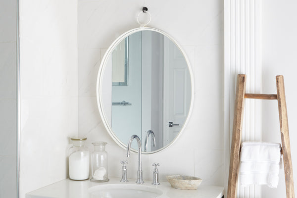 Oval Bardot Mirror, White