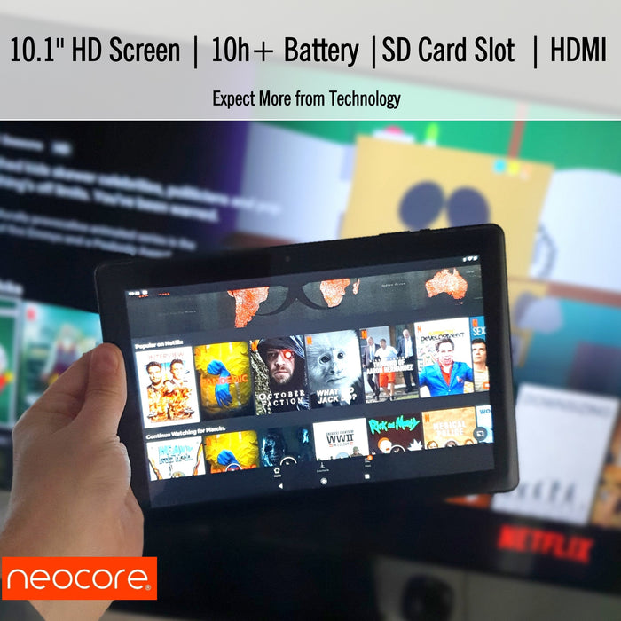 neocore E1+ 10.1'' Android Tablet, SD Card Slot, GPS, HDMI (2020 model) - TforTablet