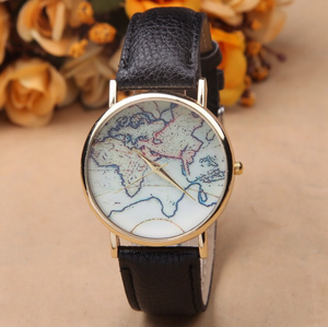 World map watch black band aida world map watch black band gumiabroncs Image collections