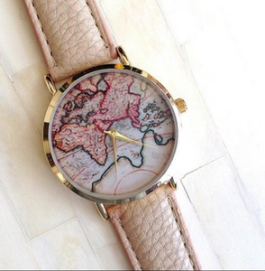 World Map Watch | Beige Band
