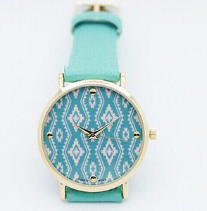 Green Aztec Watch With Geneva Leather