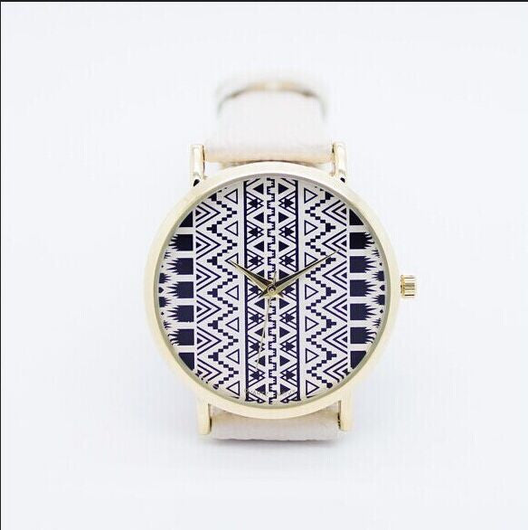 White Aztec Watch With Geneva Leather