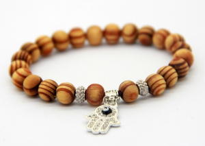 Natural Wood Hamsa Bracelet