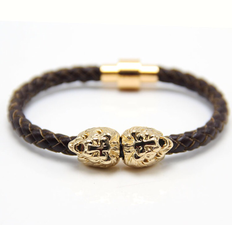LIMITED EDITION Gold Lion Head | Brown Leather Bracelet