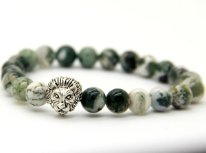 Green Vein Stone Lion Head Bracelet