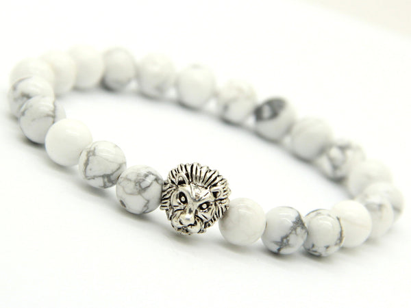 White Howlite Bead | Lion Head
