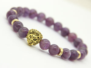 Purple Amethyst Stone Beads | Gold Lion Head