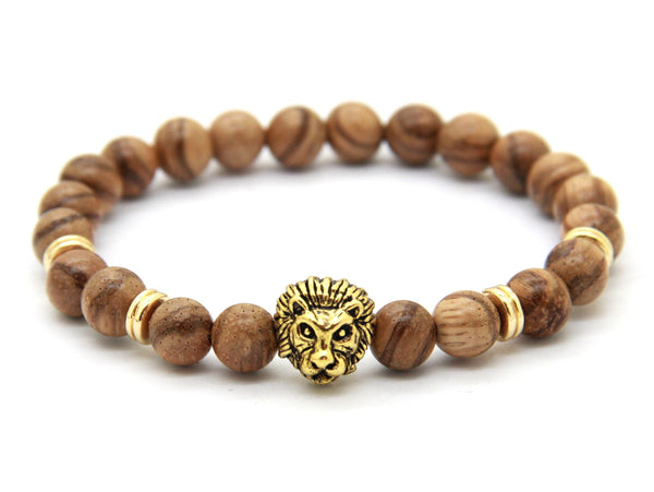 Natural Wood Bead | Lion Head