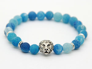 Sky Blue Weathering Agate Stone Lion Head