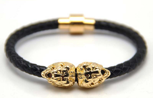 LIMITED EDITION Gold Lion Head | Black Leather Bracelet