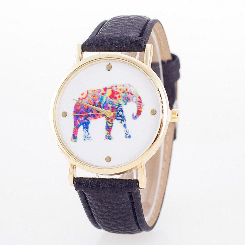 Elegant Elephant Leather Band Watch