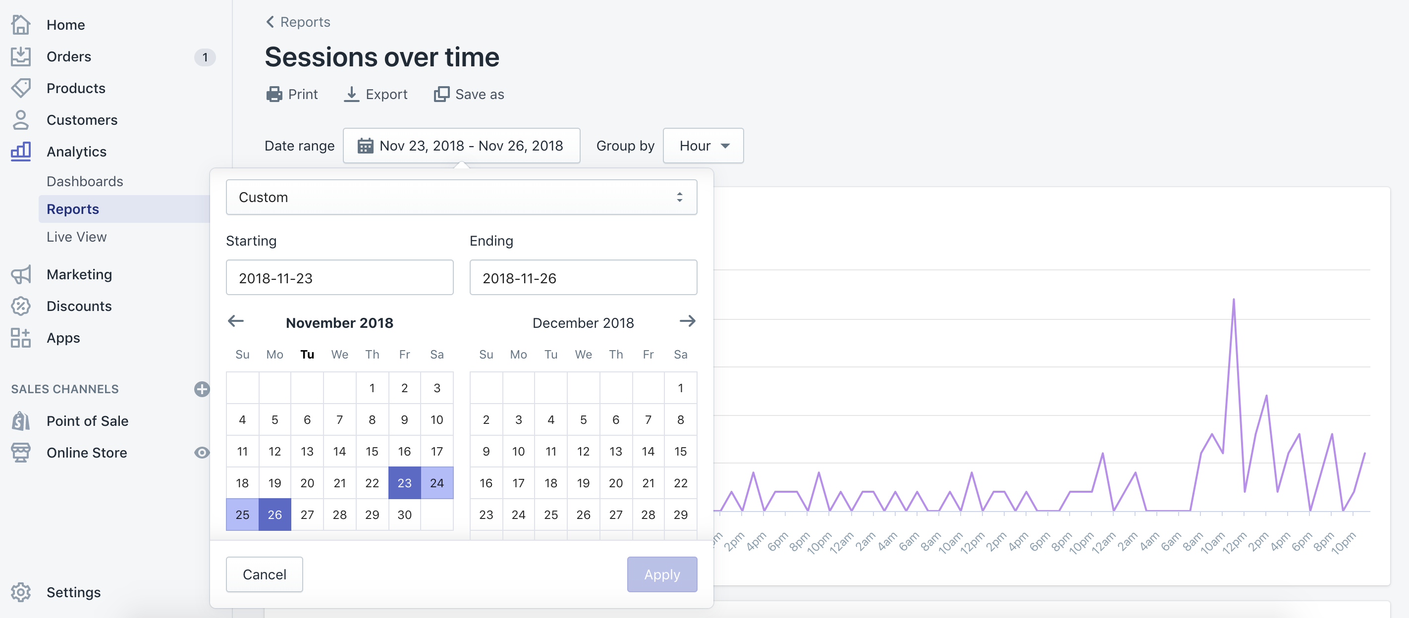 Using Shopify Analytics to look at the data from your store's BFCM performance last year.