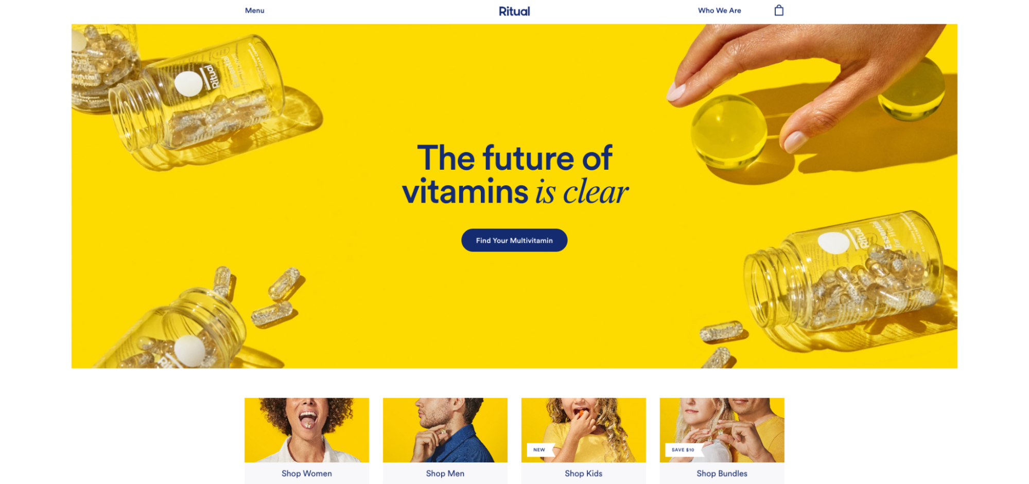 The homepage for vitamin brand Ritual designed by Simplistic
