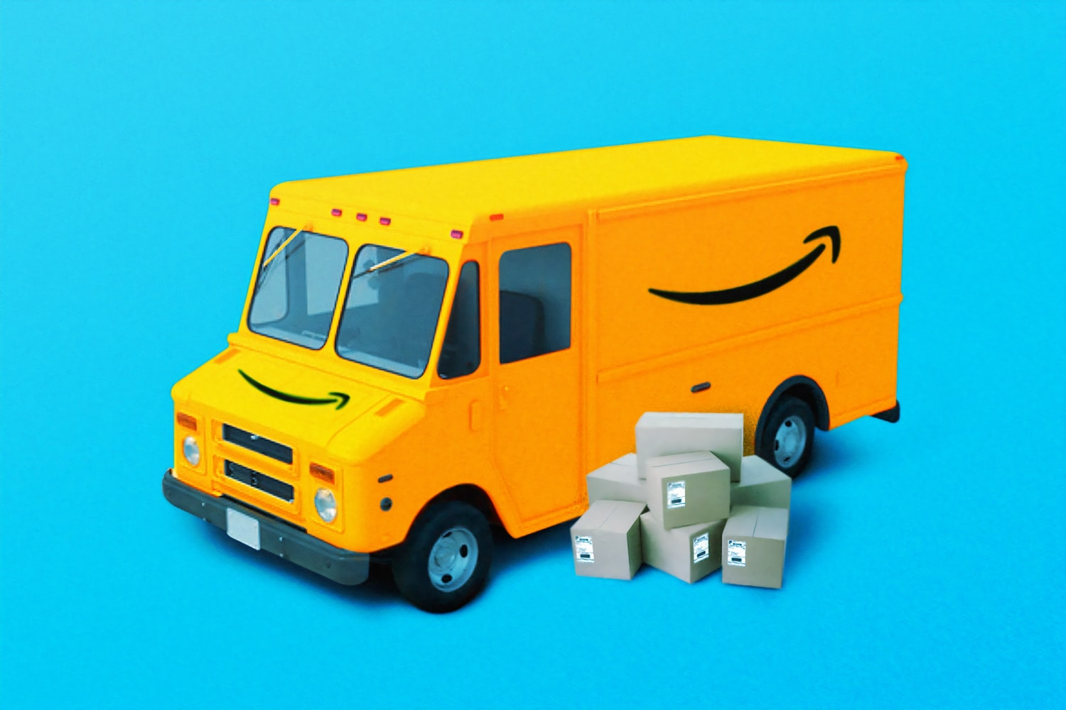Amazon truck with packages