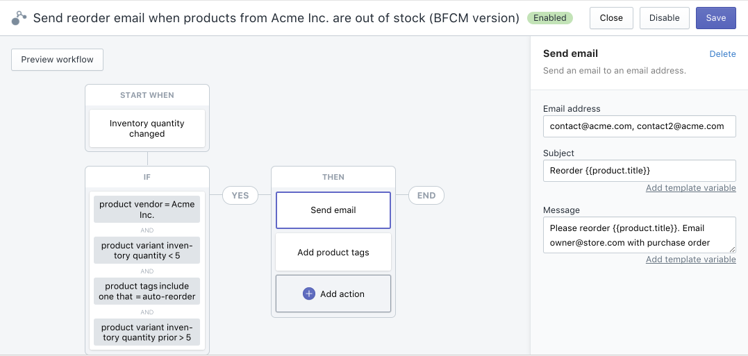 Shopify Flow Example