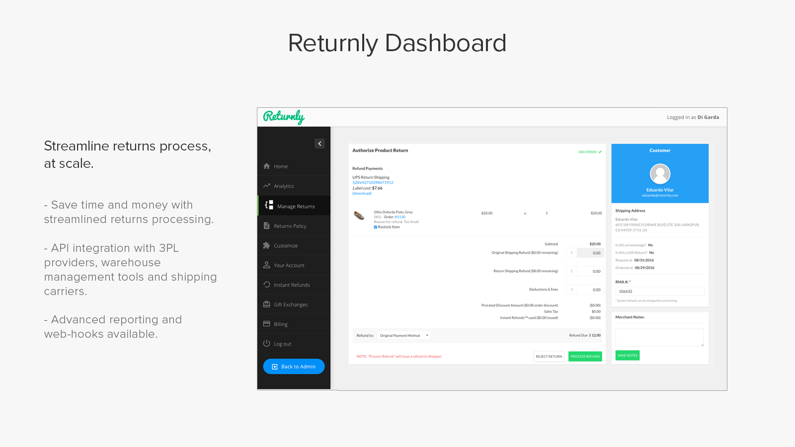 Returnly Shopify app.