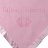 Personalized Newborn Gift Blanket with Hearts and Feet Design (Pink or Blue)