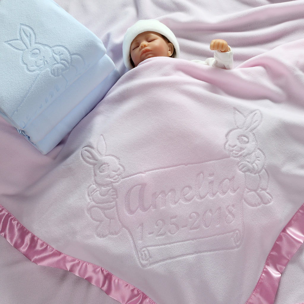 Large Personalized Baby Blanket with Bunnies
