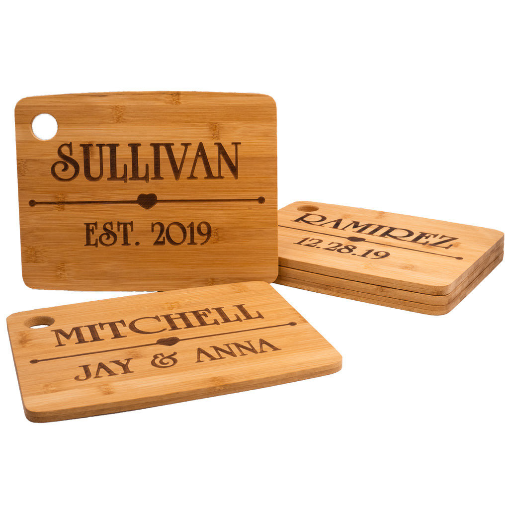 Personalized Bamboo Cutting Board - Heart Design