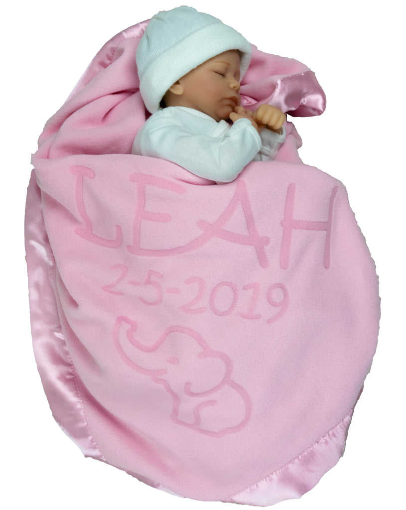 Elephant Blanket Baby Boy, Girls (2 Text Lines)