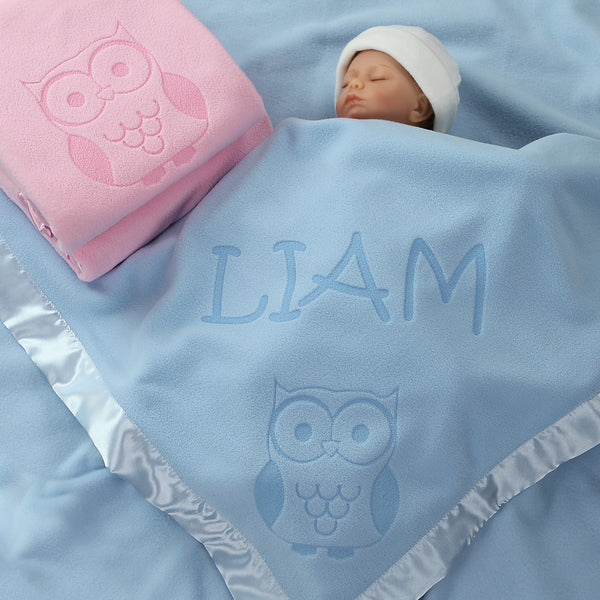 Owl Gifts, Baby Blanket - Boy or Girls (1 Text Line)