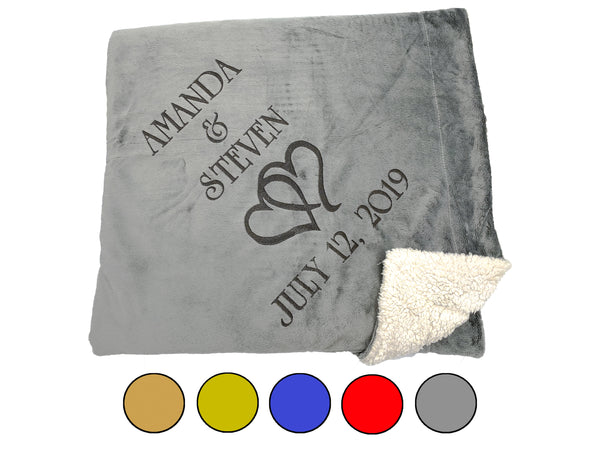 Personalized Couples Throw Blanket with Hearts