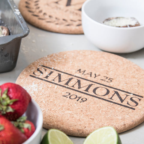 "Personalized 7"" Cork Trivets - Set of 2 - Bar Design"