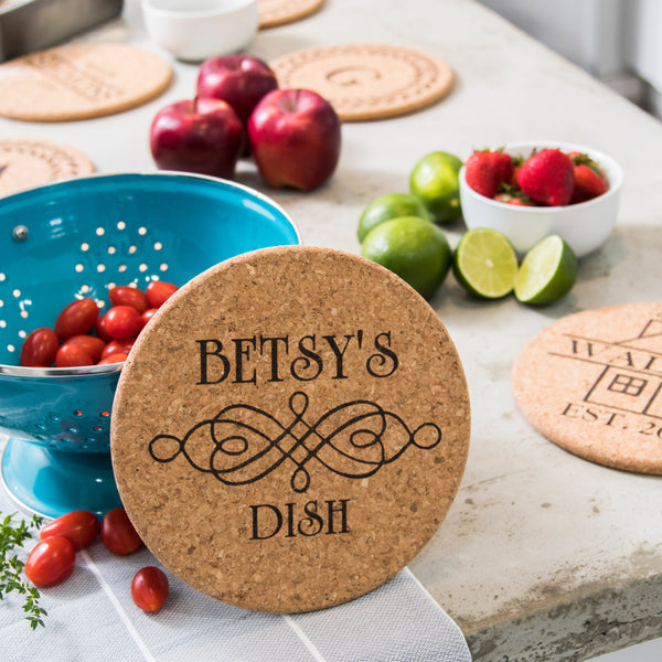"Personalized 7"" Cork Trivets - Set of 2 - Scroll Design"