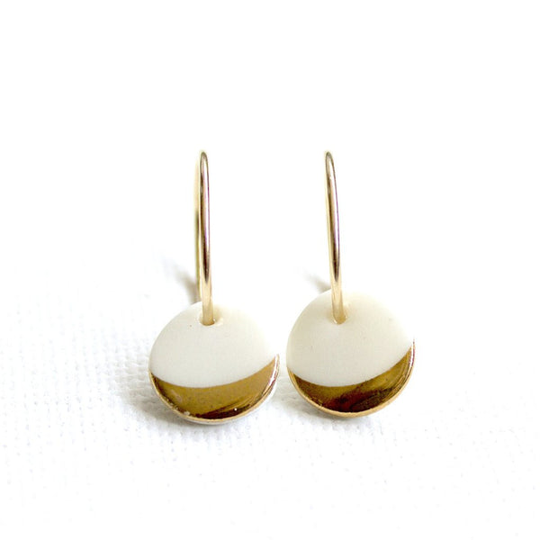 Porcelain Dipped Design Hoop Earrings Gold
