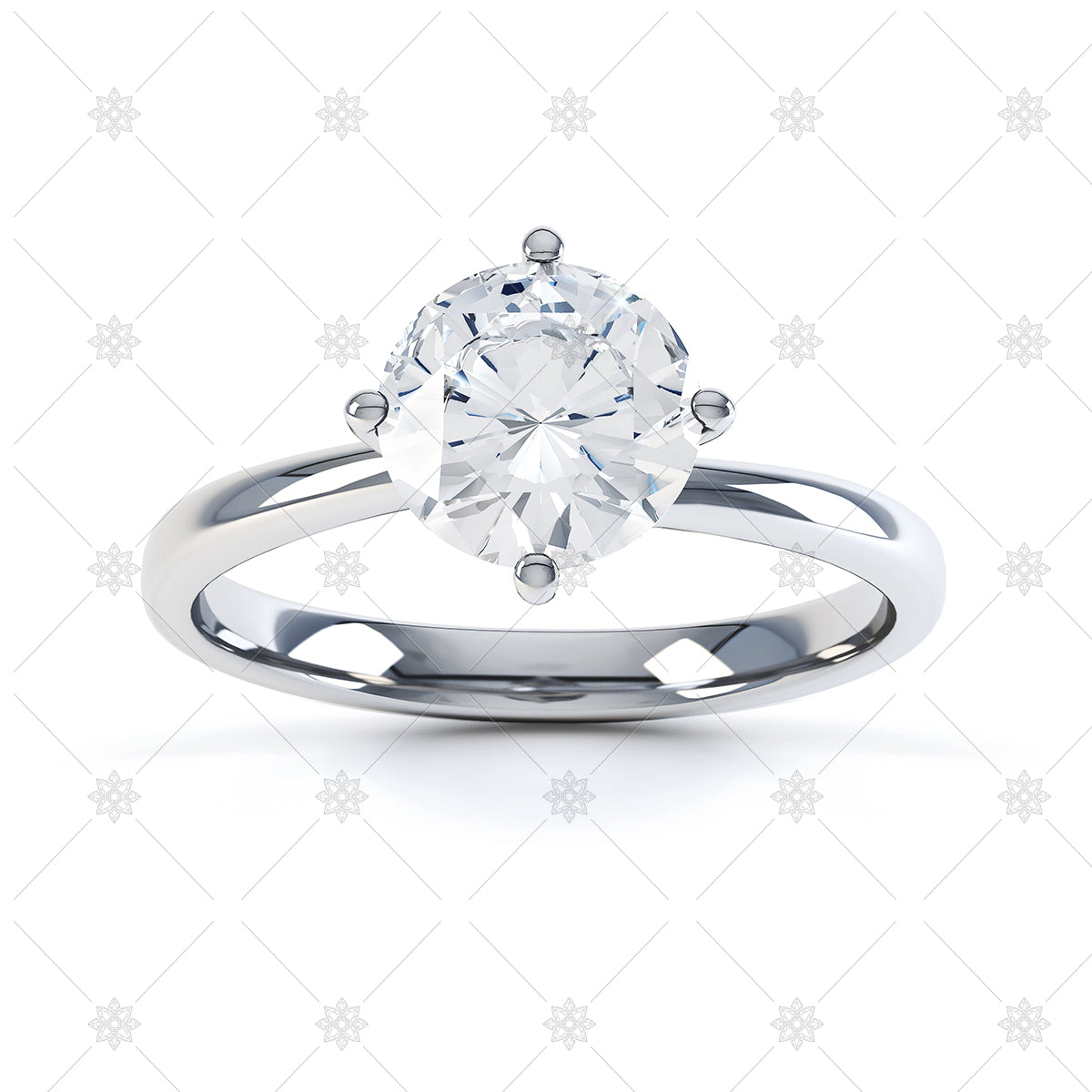Round 4 claw white diamond ring