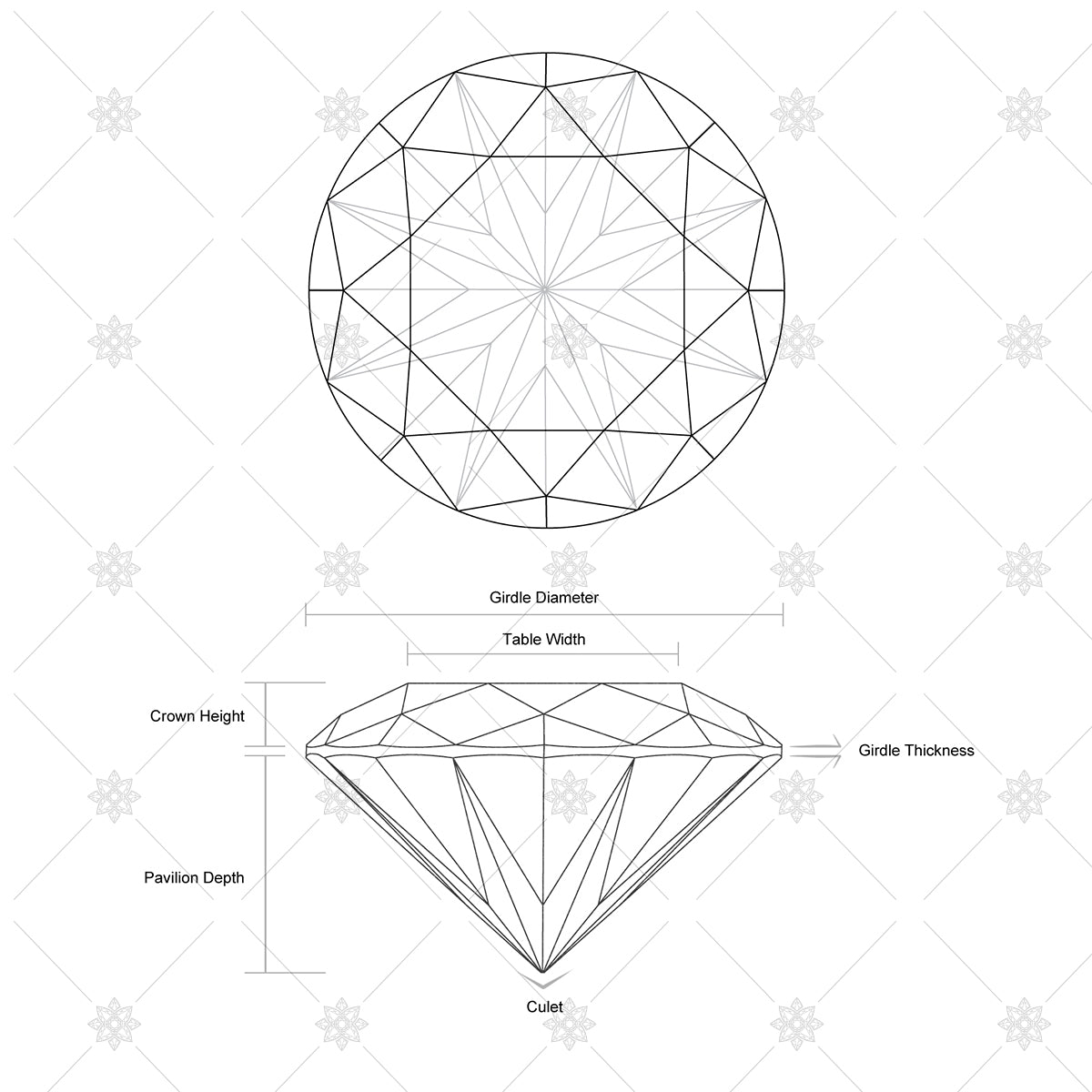 Diamond anatomy and illustration