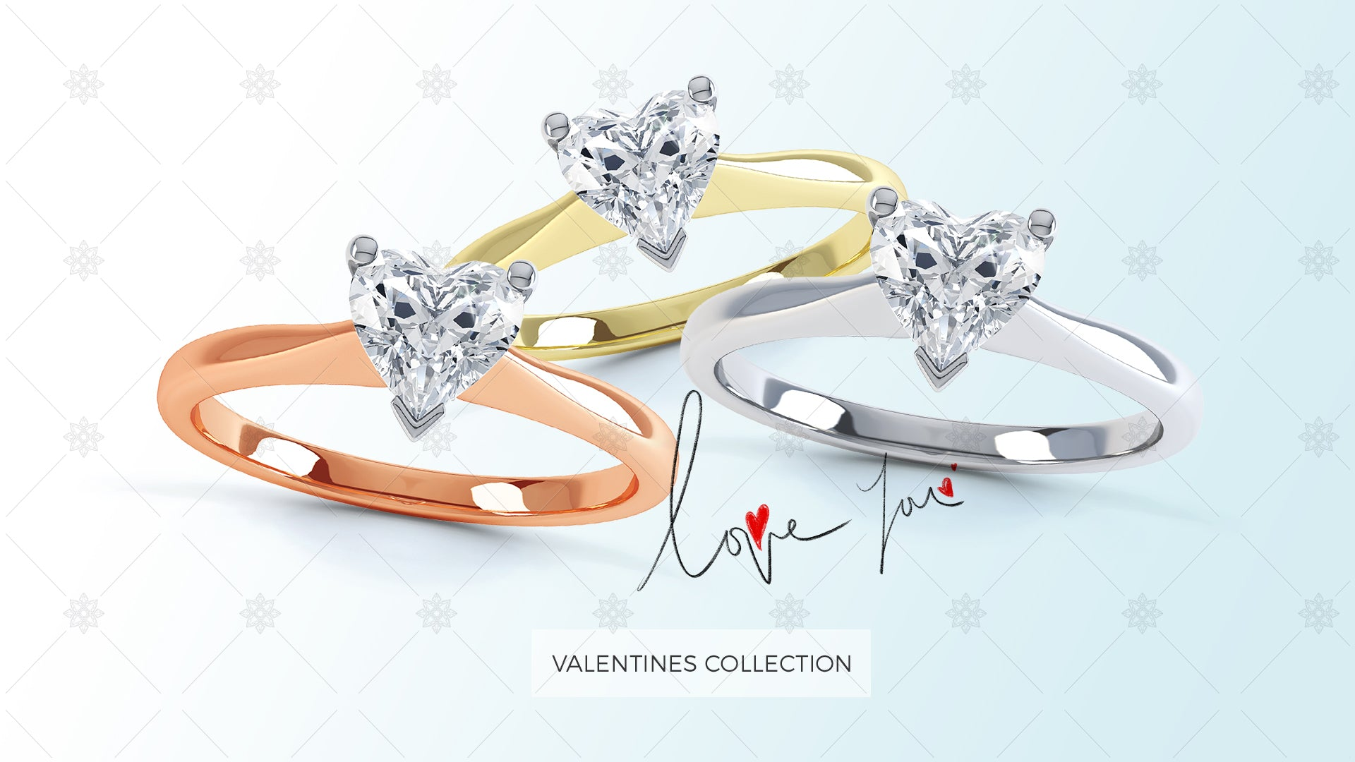 Valentine day website slider design blue