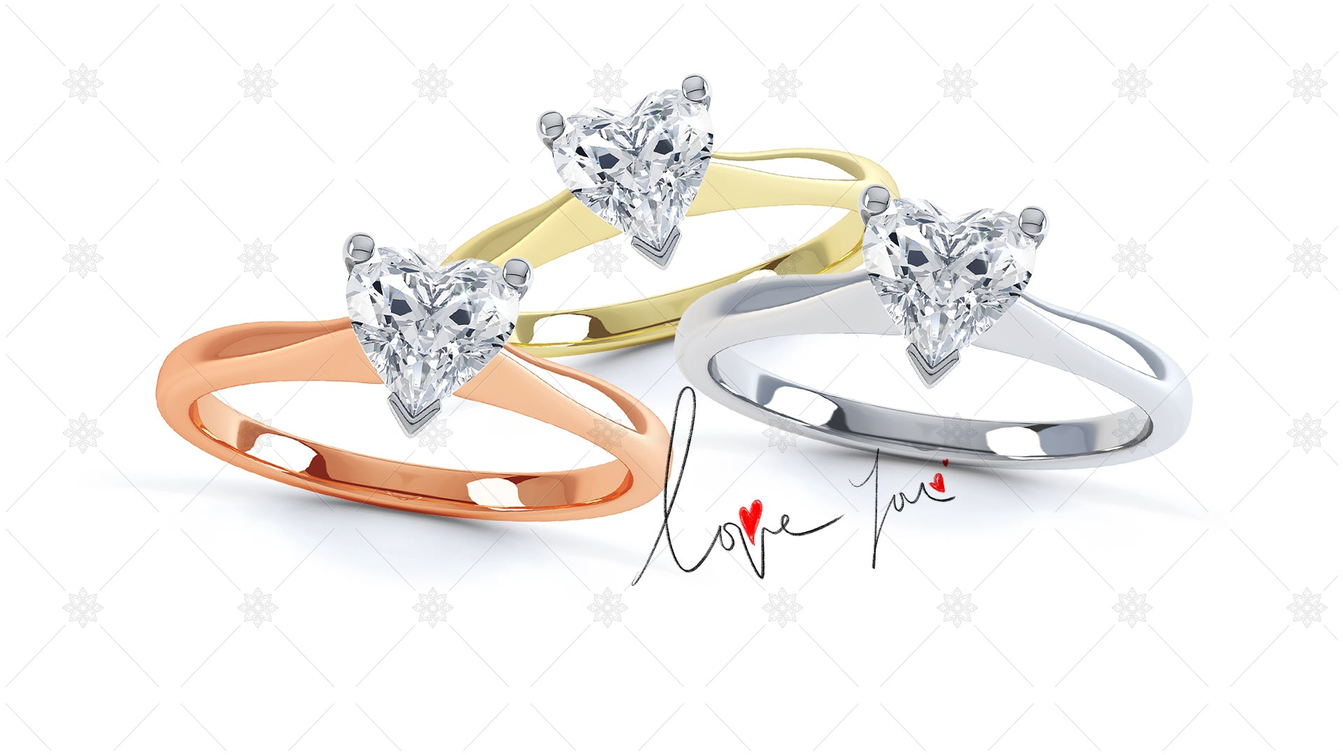 Valentines day website banner design heart rings