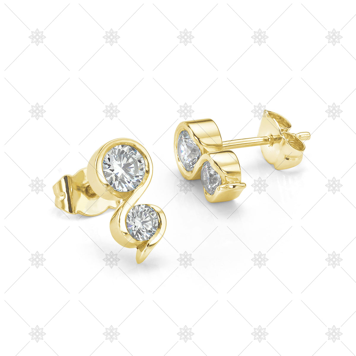 Diamond Earrings yellow gold two stone