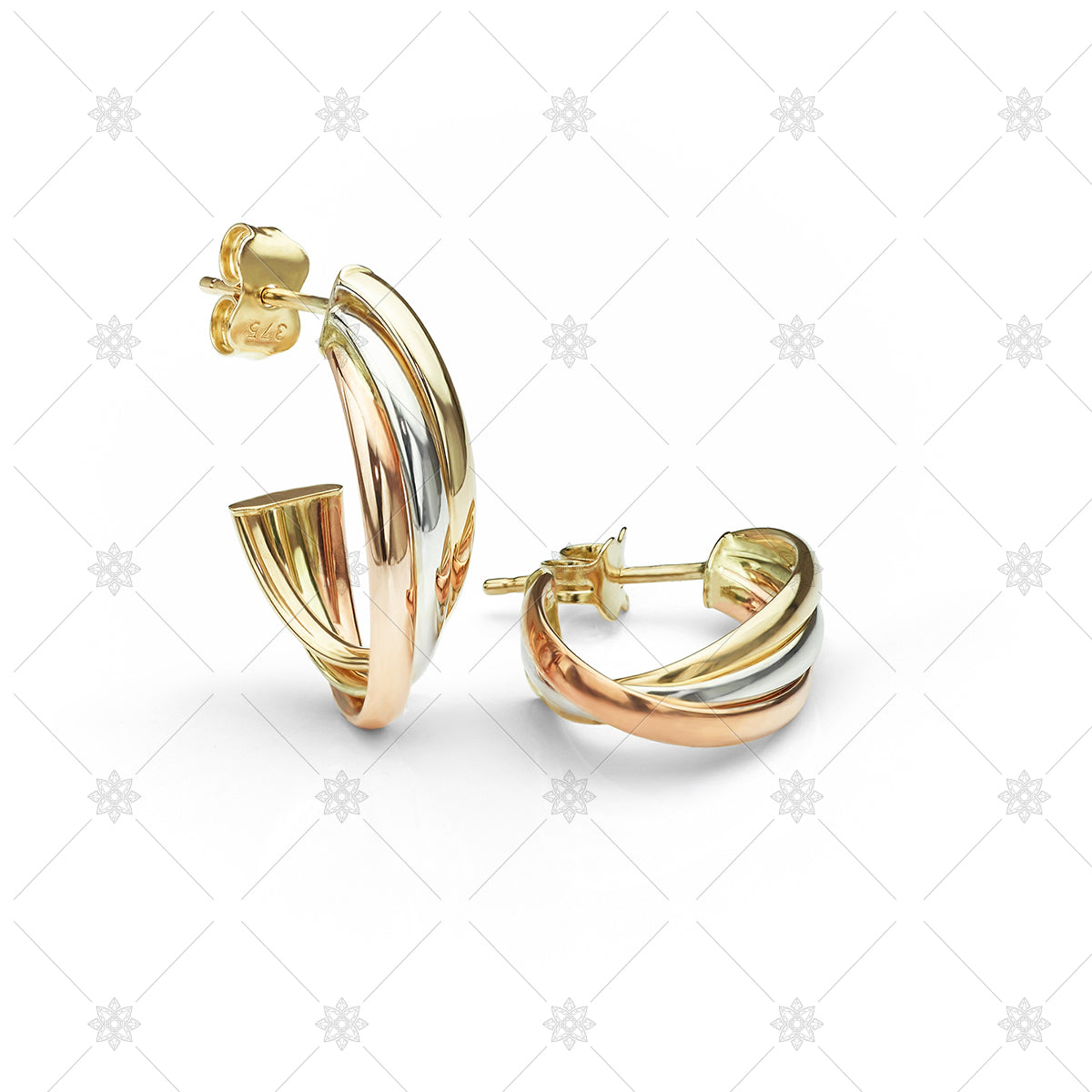 tri colour gold earrings