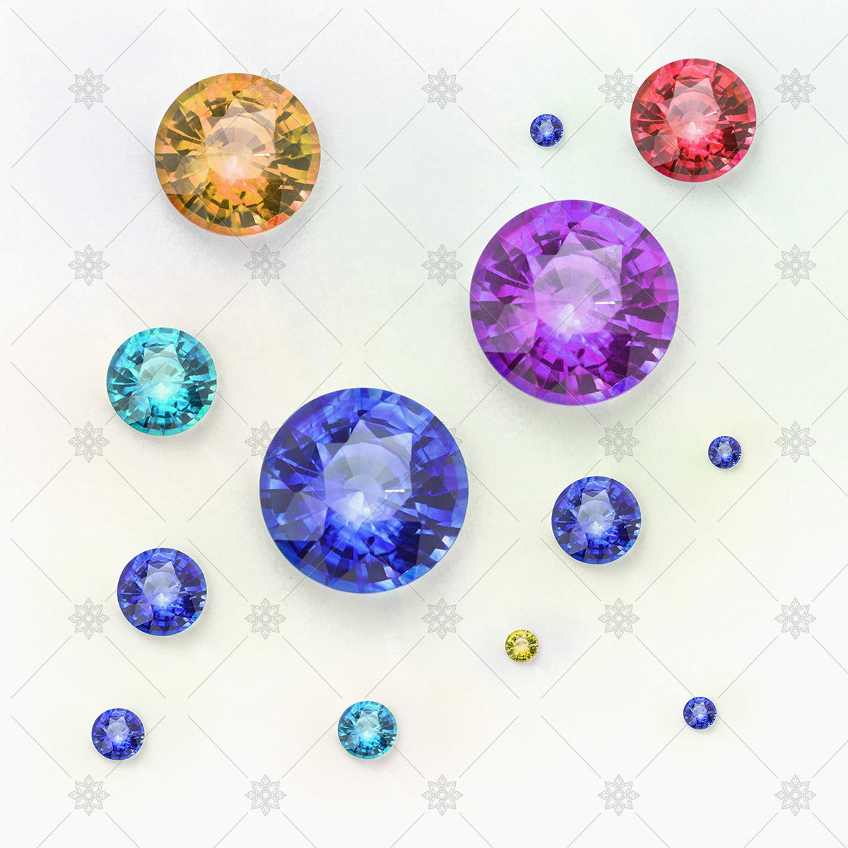 groups of coloured gemstones