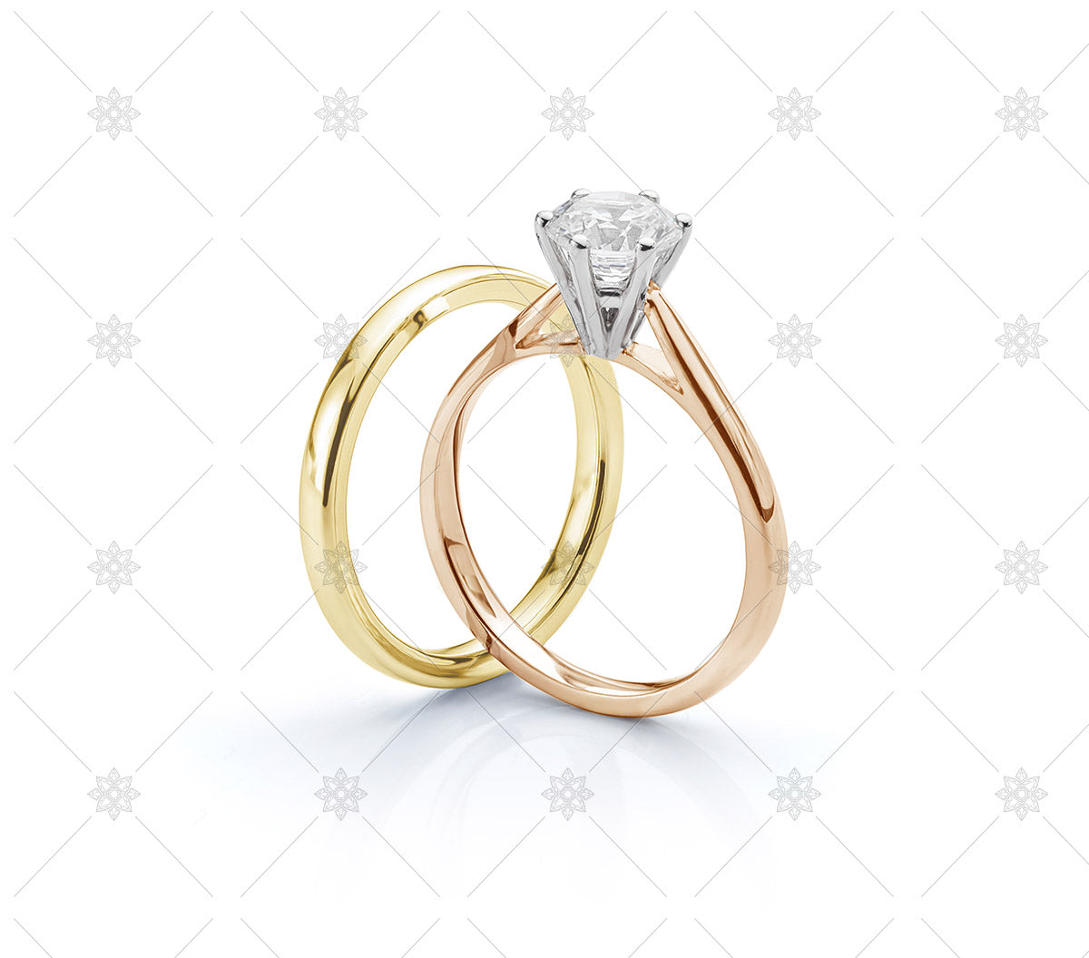 Yellow Gold Wedding Ring and Rose Gold Engagement Ring set