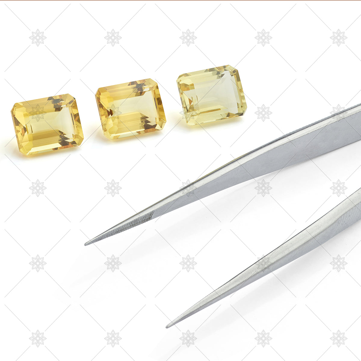 Citrine Gemstones with Tweezers
