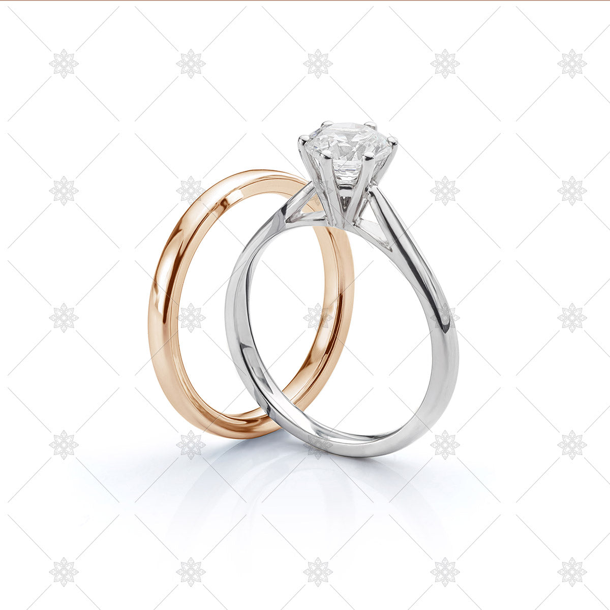 Rose Gold Wedding ring with WHite gold engagement ring