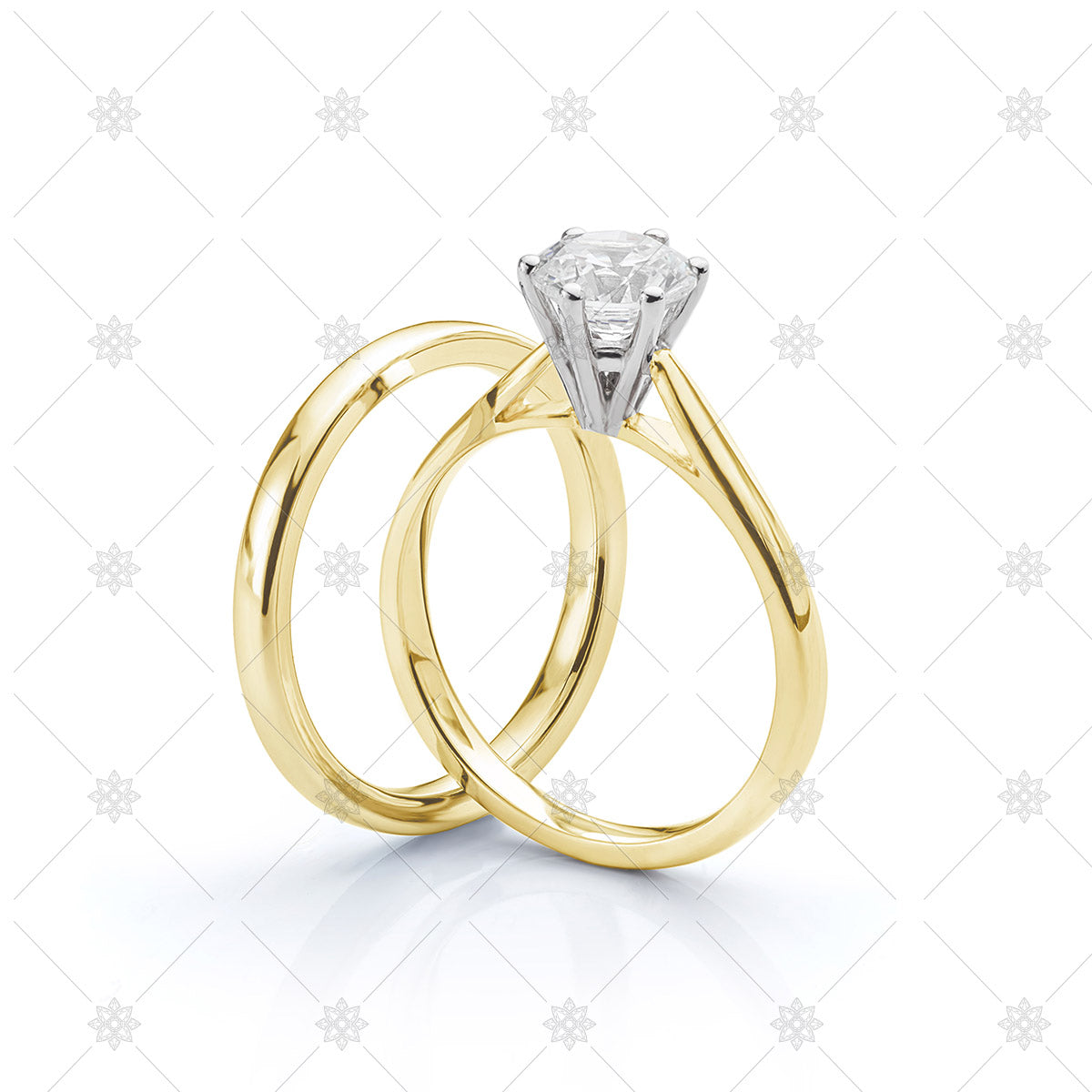 Yellow Gold Wedding Band and Engagement Ring Set