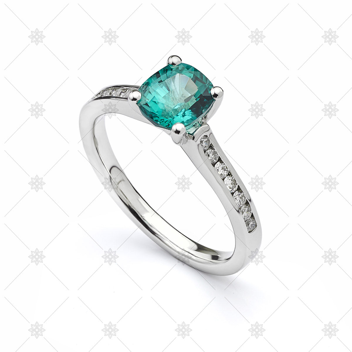 Blue Green Sapphire Cushion Ring