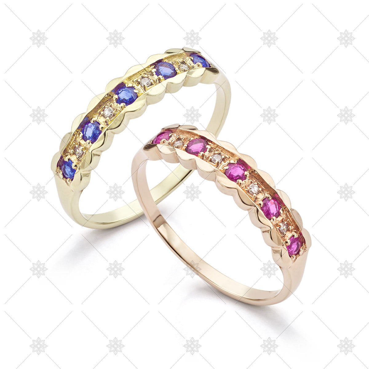 Pink and Blue Sapphire rings image