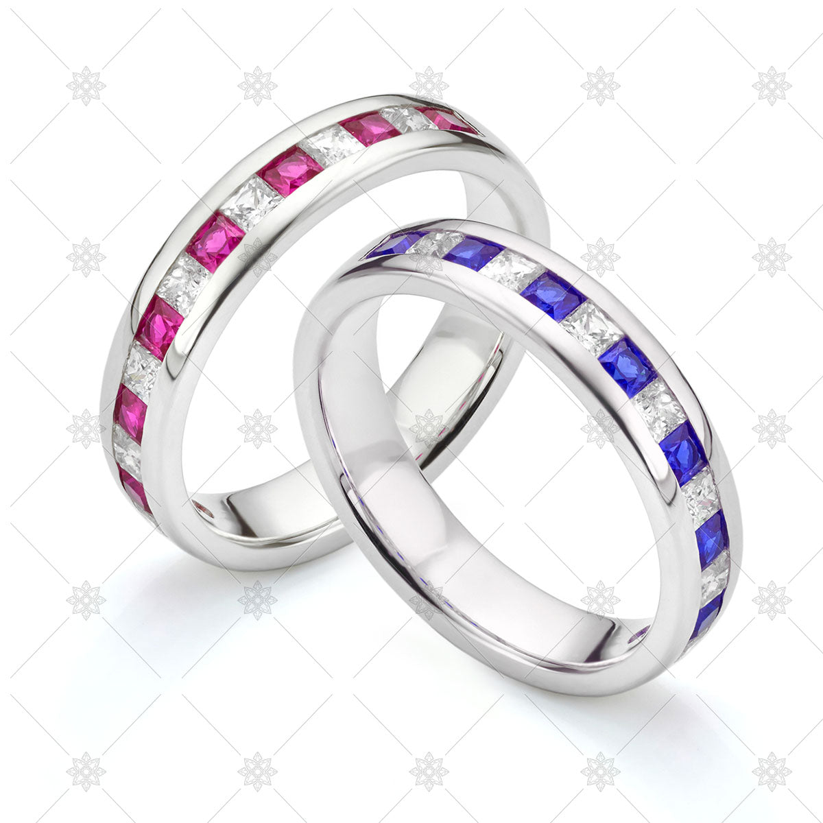 Blue and Pink Sapphire Wedding Rings stock image