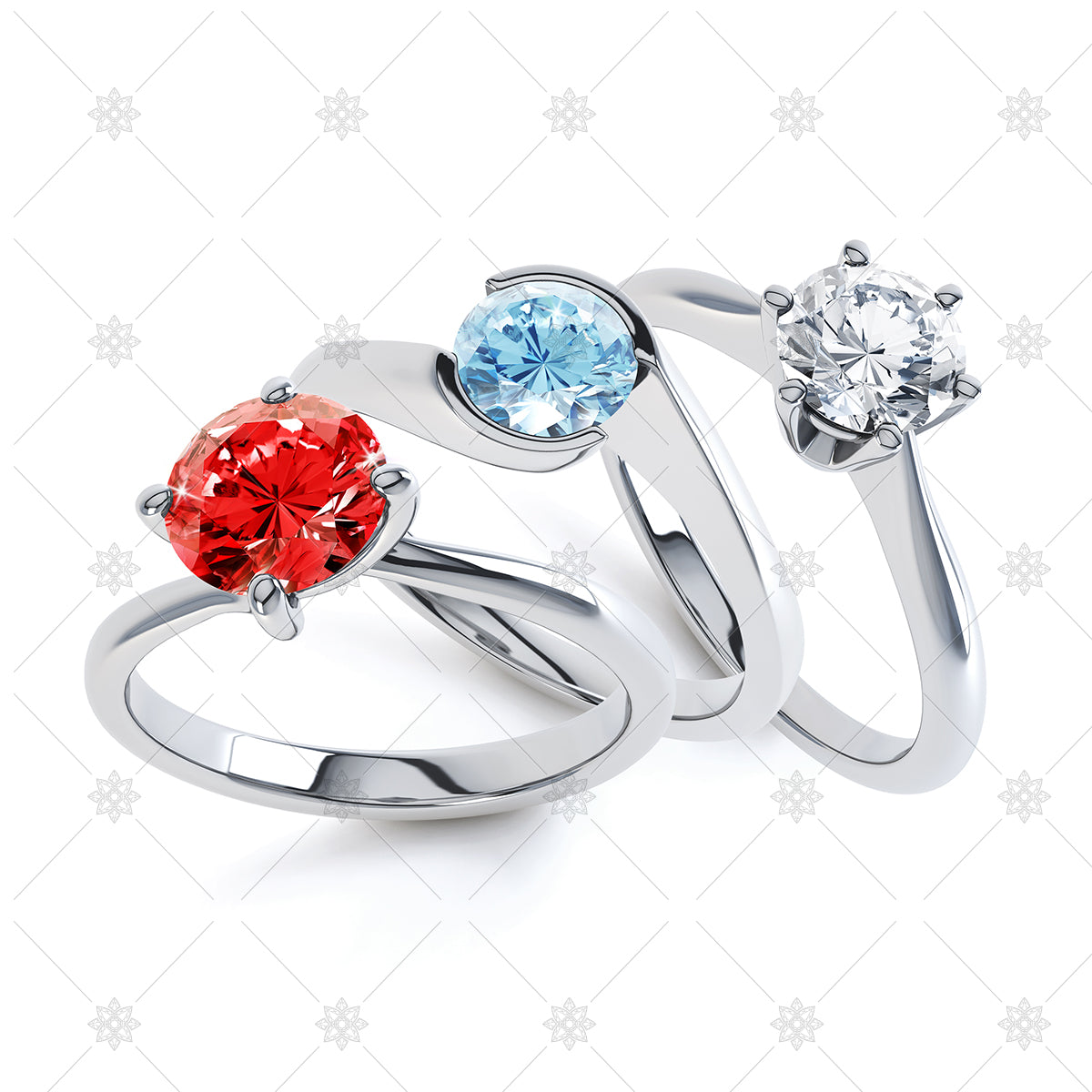 red white and blue diamond rings