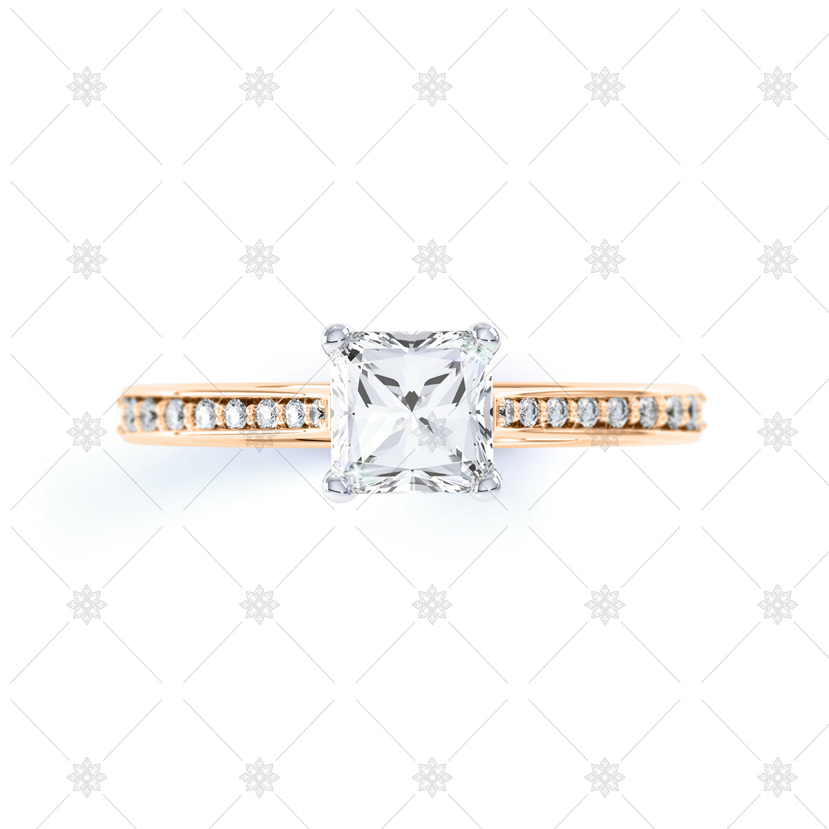 Princess cut diamond ring top view in rose gold