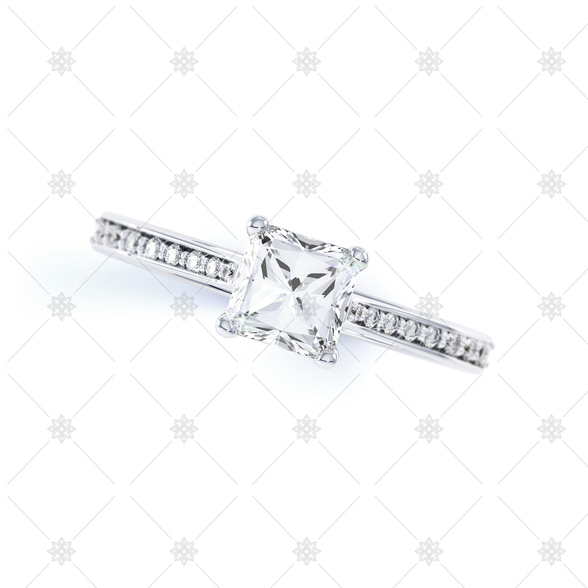 Princess cut white gold ring top view