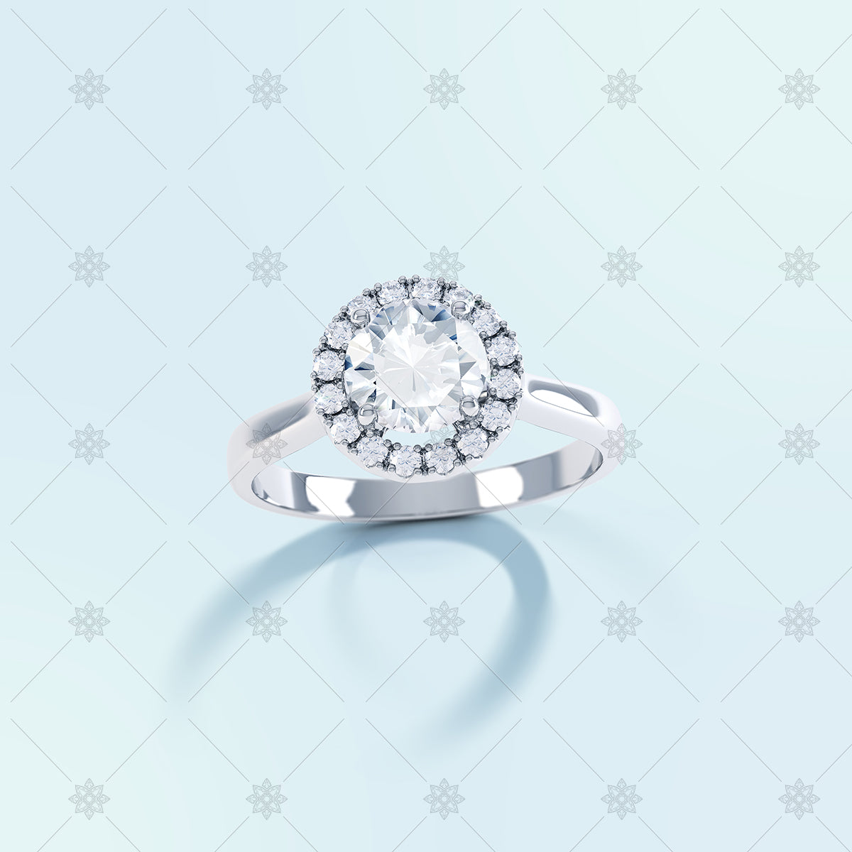 halo diamond ring image top view on blue
