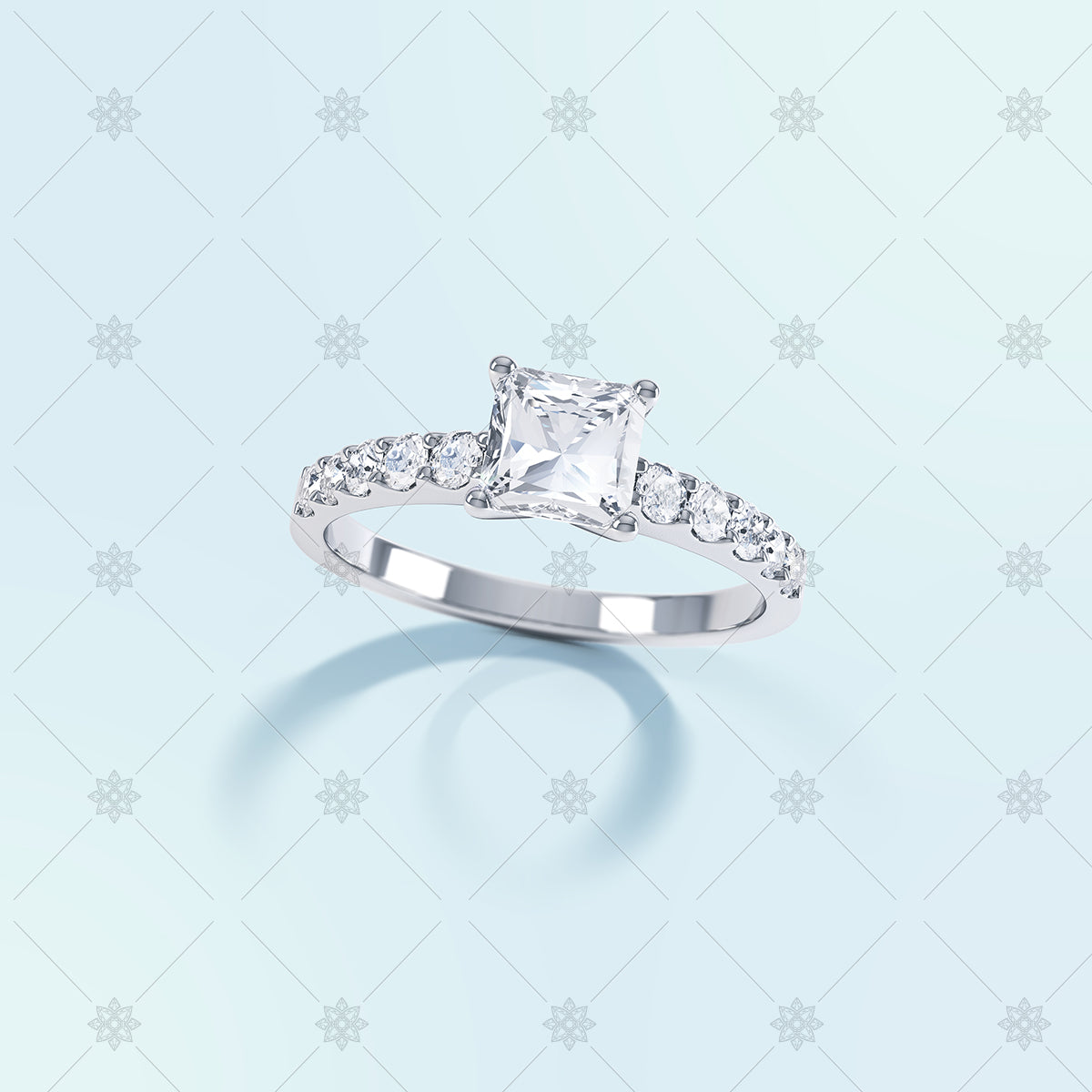 princess cut diamond ring with long shadow