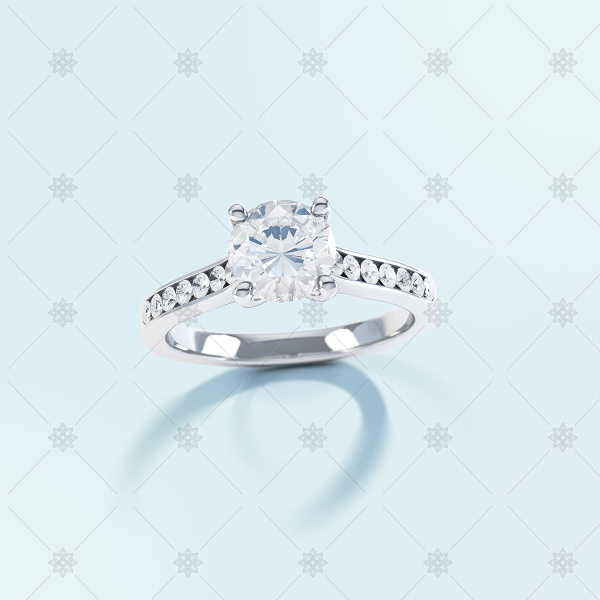 Round semi set diamond ring with long shadow on blue background.