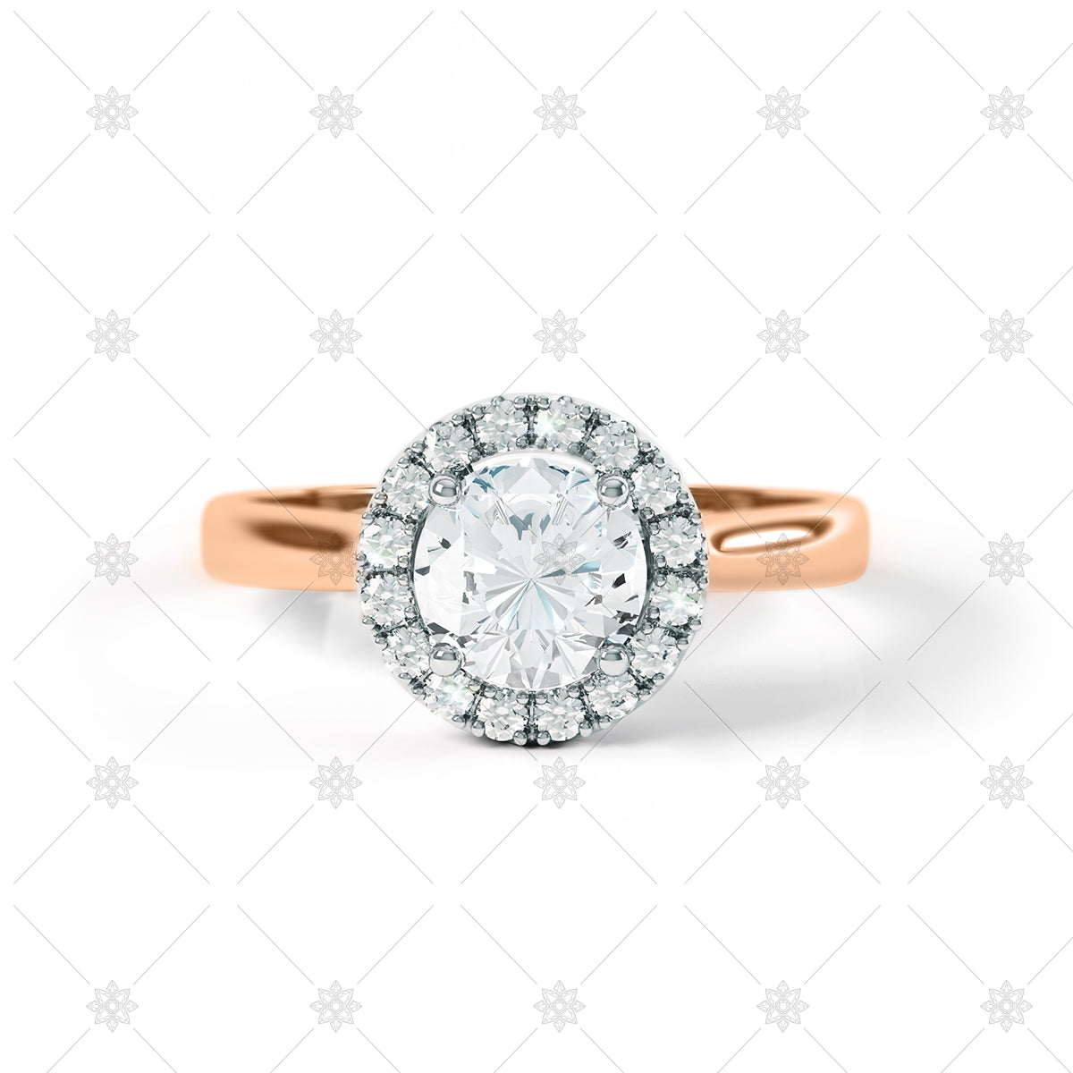 Halo Ring in rose gold with diamonds